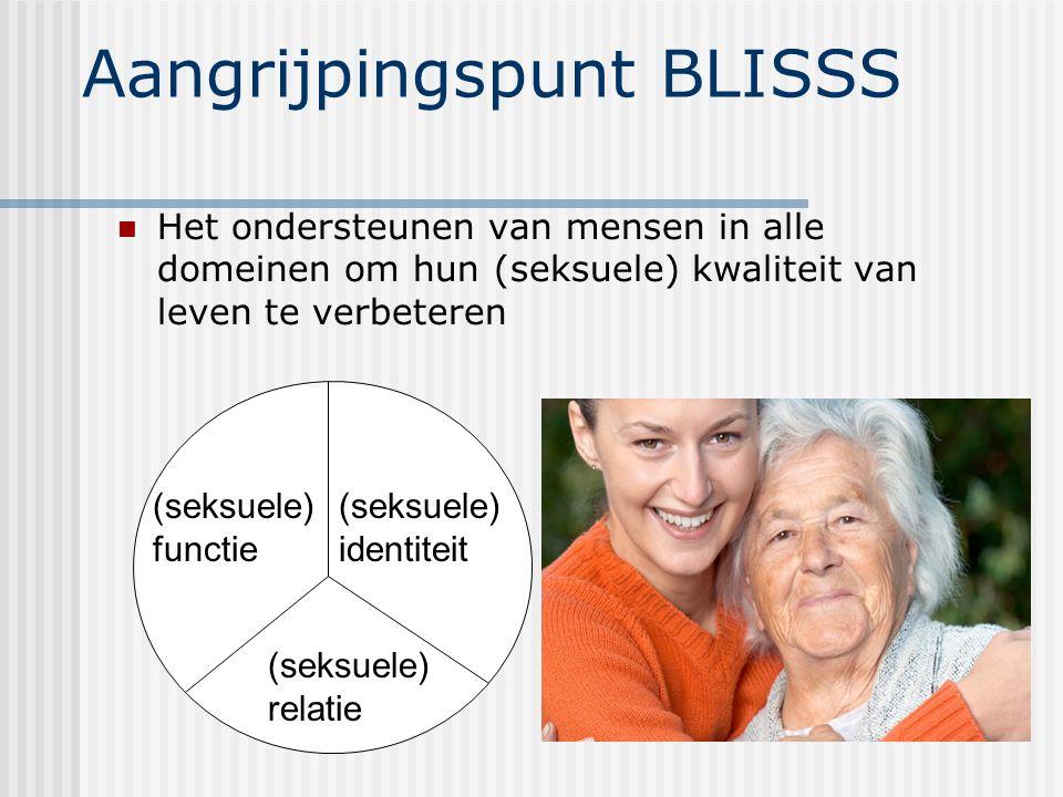 Aangrijpingspunt BLISSS Het ondersteunen van mensen in alle domeinen om hun (seksuele) kwaliteit van leven te verbeteren (seksuele) identiteit (seksue