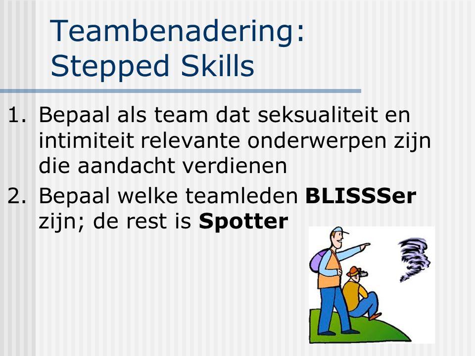 Teambenadering: Stepped Skills 1.Bepaal als team dat seksualiteit en intimiteit relevante onderwerpen zijn die aandacht verdienen 2.Bepaal welke teamleden BLISSSer zijn; de rest is Spotter