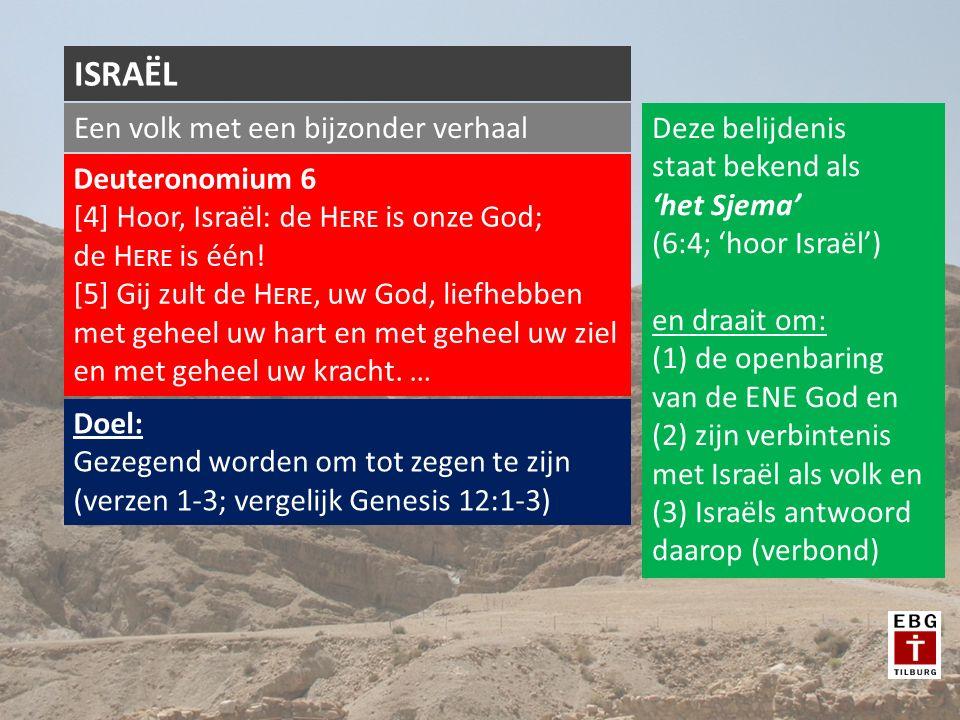 Een volk met een bijzonder verhaal ISRAËL Deuteronomium 6 [4] Hoor, Israël: de H ERE is onze God; de H ERE is één.