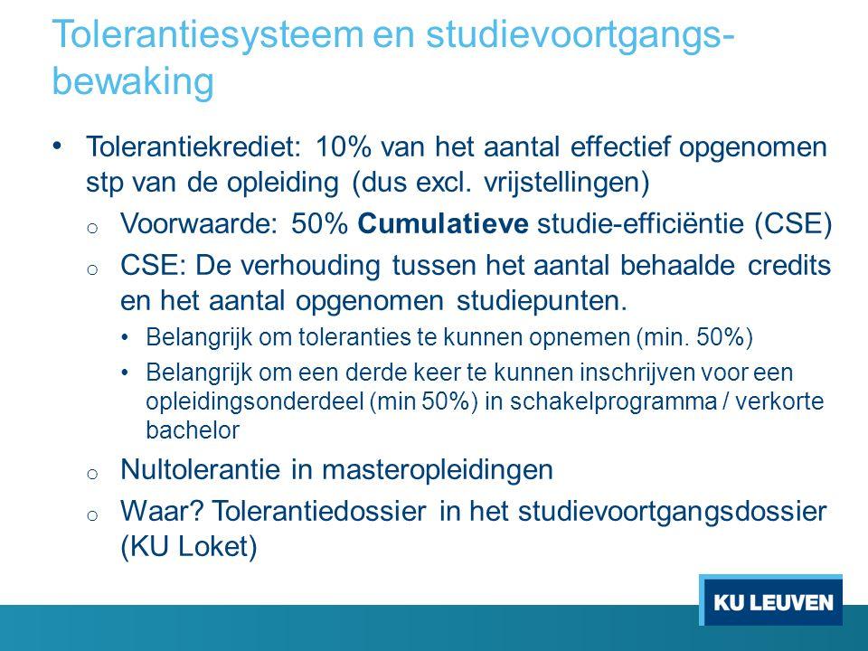 Tolerantiesysteem en studievoortgangs- bewaking Tolerantiekrediet: 10% van het aantal effectief opgenomen stp van de opleiding (dus excl.