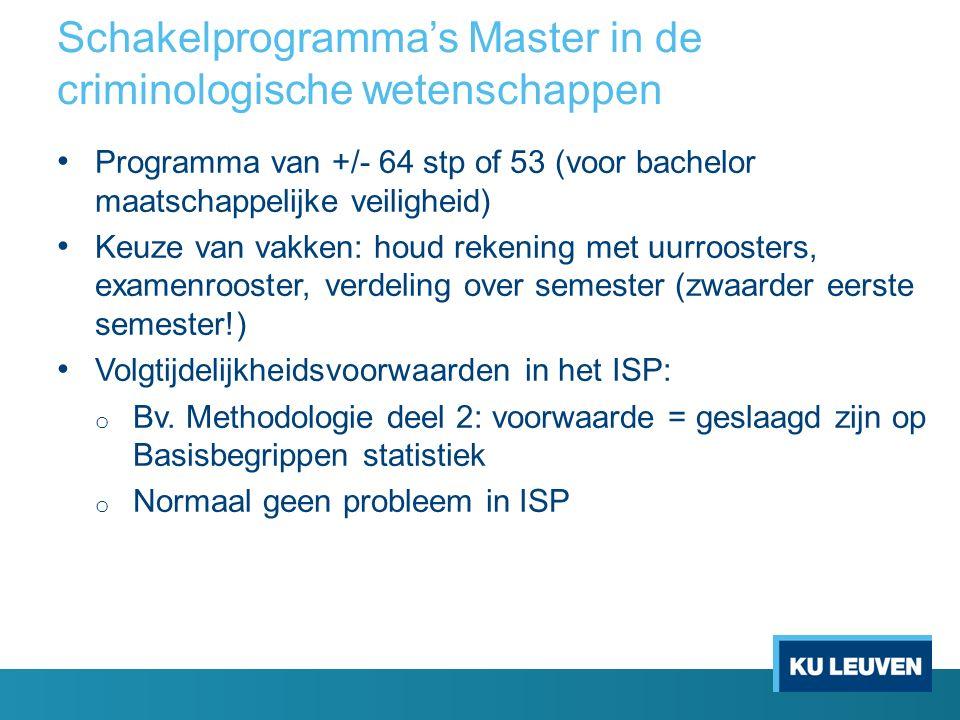 Schakelprogramma's Master in de criminologische wetenschappen Programma van +/- 64 stp of 53 (voor bachelor maatschappelijke veiligheid) Keuze van vak