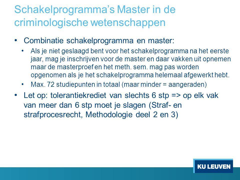 Schakelprogramma's Master in de criminologische wetenschappen Combinatie schakelprogramma en master: Als je niet geslaagd bent voor het schakelprogram