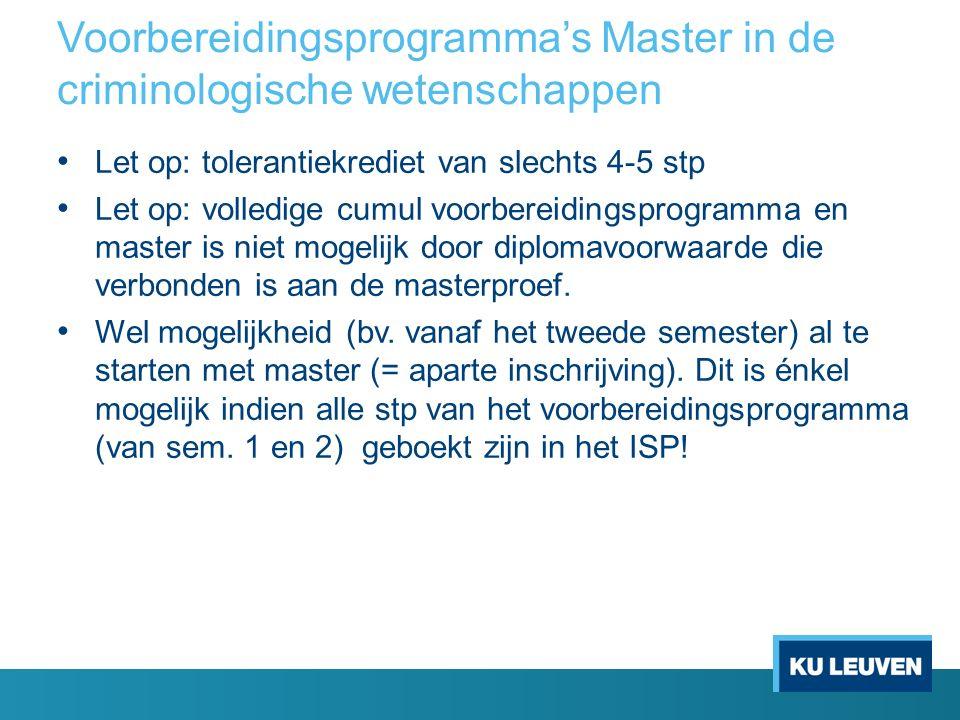 Voorbereidingsprogramma's Master in de criminologische wetenschappen Let op: tolerantiekrediet van slechts 4-5 stp Let op: volledige cumul voorbereidi