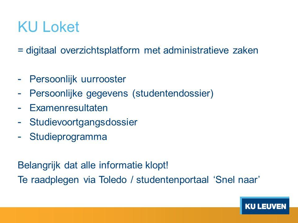 KU Loket = digitaal overzichtsplatform met administratieve zaken - Persoonlijk uurrooster - Persoonlijke gegevens (studentendossier) - Examenresultaten - Studievoortgangsdossier - Studieprogramma Belangrijk dat alle informatie klopt.