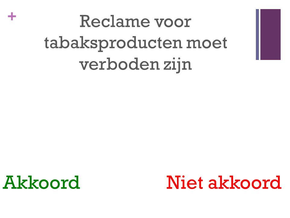 + Reclame voor tabaksproducten moet verboden zijn Akkoord Niet akkoord