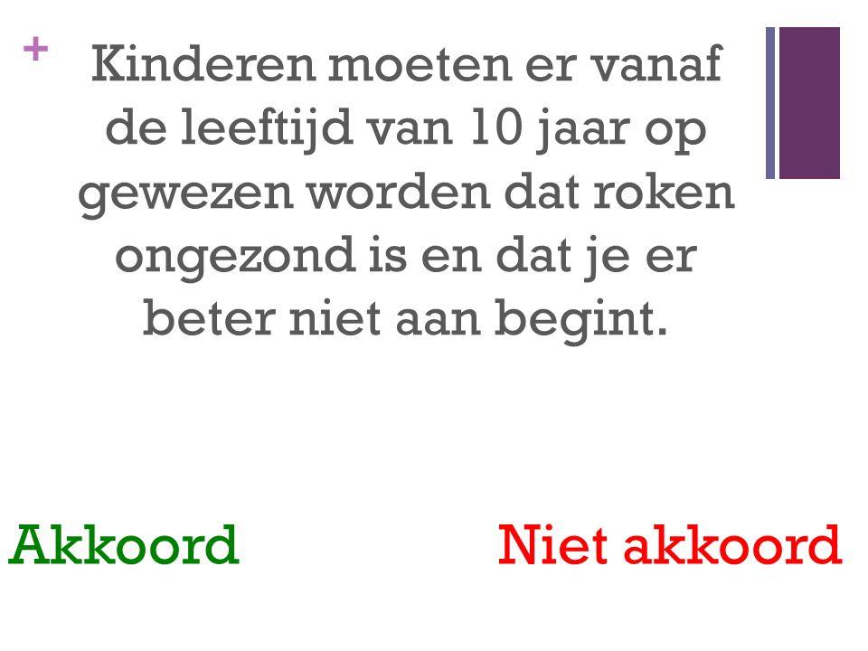 + Kinderen moeten er vanaf de leeftijd van 10 jaar op gewezen worden dat roken ongezond is en dat je er beter niet aan begint.