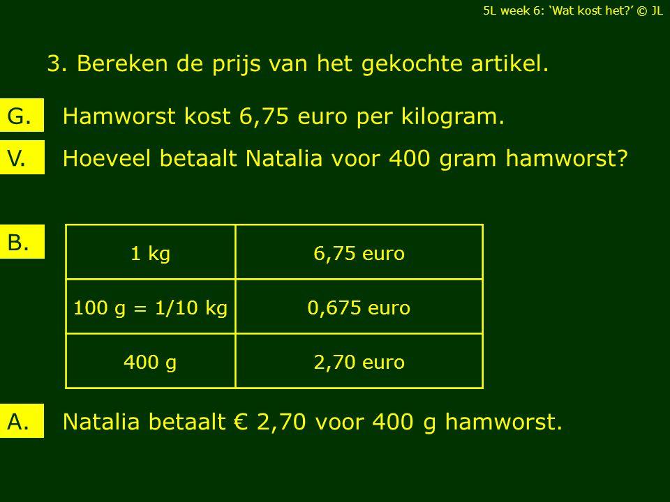 Hoeveel betaalt Natalia voor 400 gram hamworst?V. Hamworst kost 6,75 euro per kilogram.G. B. Natalia betaalt € 2,70 voor 400 g hamworst.A. 1 kg6,75 eu