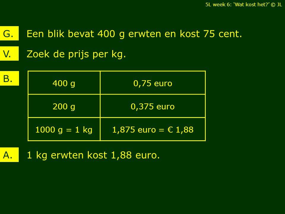 Zoek de prijs per kg.V. Een blik bevat 400 g erwten en kost 75 cent.G. B. 1 kg erwten kost 1,88 euro.A. 400 g0,75 euro 200 g0,375 euro 1000 g = 1 kg1,
