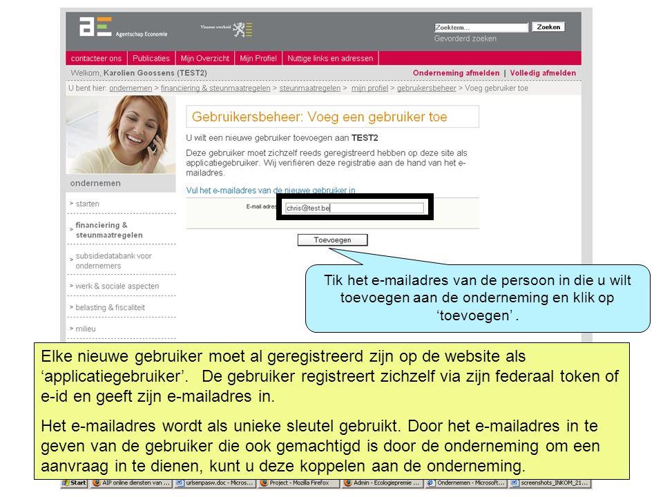 Elke nieuwe gebruiker moet al geregistreerd zijn op de website als 'applicatiegebruiker'. De gebruiker registreert zichzelf via zijn federaal token of