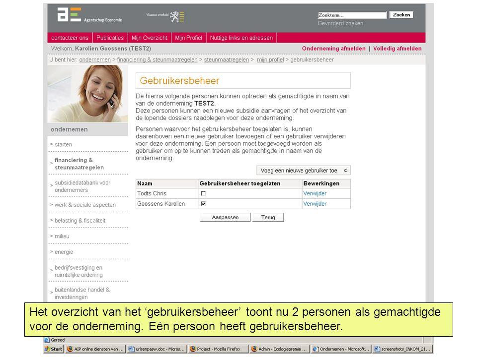Het overzicht van het 'gebruikersbeheer' toont nu 2 personen als gemachtigde voor de onderneming. Eén persoon heeft gebruikersbeheer.