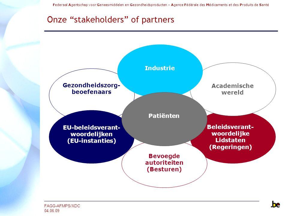 Federaal Agentschap voor Geneesmiddelen en Gezondheidsproducten – Agence Fédérale des Médicaments et des Produits de Santé FAGG-AFMPS/XDC 04.06.09 Het FAGG en het goede gebruik van geneesmiddelen (2/2)  Verzekeren van de toegang tot de Authentieke Bron Geneesmiddelen  Financiering van het RIZIV op basis van een overeenkomst tussen het RIZIV en het FAGG ‐Juli tot december 2008: € 250.000 ‐2009: € 500.000  Mogelijkheid voor het FAGG om een beroep te doen op een derde