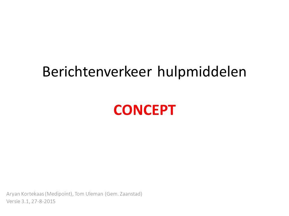 Berichtenverkeer hulpmiddelen CONCEPT Aryan Kortekaas (Medipoint), Tom Uleman (Gem. Zaanstad) Versie 3.1, 27-8-2015