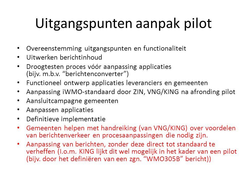 Uitgangspunten aanpak pilot Overeenstemming uitgangspunten en functionaliteit Uitwerken berichtinhoud Droogtesten proces vóór aanpassing applicaties (