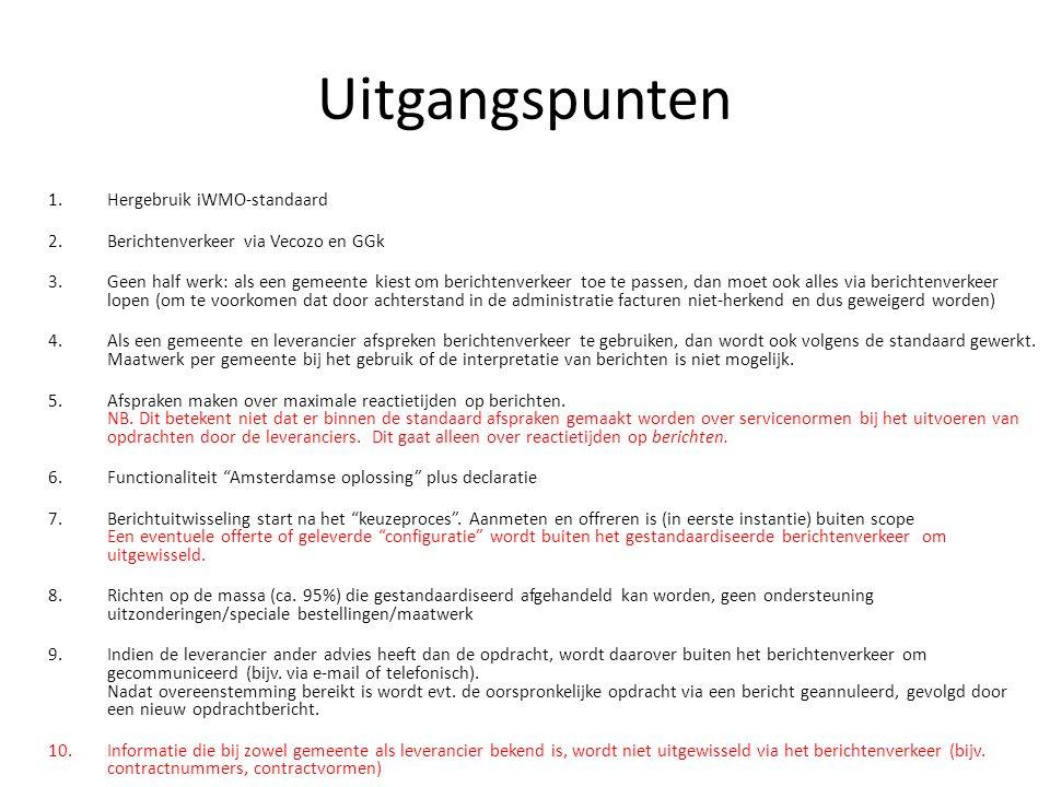 Uitgangspunten 1.Hergebruik iWMO-standaard 2.Berichtenverkeer via Vecozo en GGk 3.Geen half werk: als een gemeente kiest om berichtenverkeer toe te pa