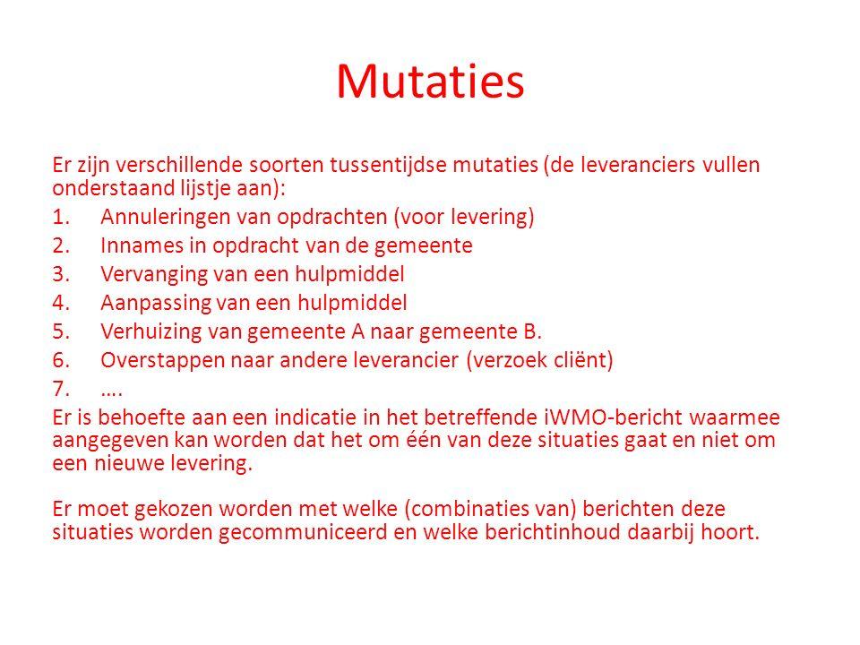 Mutaties Er zijn verschillende soorten tussentijdse mutaties (de leveranciers vullen onderstaand lijstje aan): 1.Annuleringen van opdrachten (voor lev