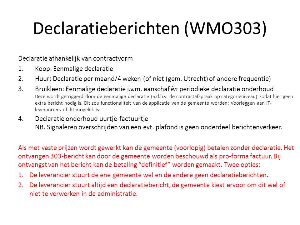 Declaratieberichten (WMO303) Declaratie afhankelijk van contractvorm 1.Koop: Eenmalige declaratie 2.Huur: Declaratie per maand/4 weken (of niet (gem.