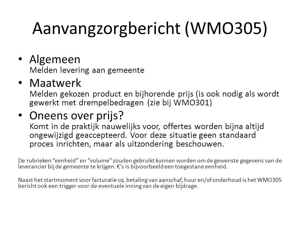 Aanvangzorgbericht (WMO305) Algemeen Melden levering aan gemeente Maatwerk Melden gekozen product en bijhorende prijs (is ook nodig als wordt gewerkt