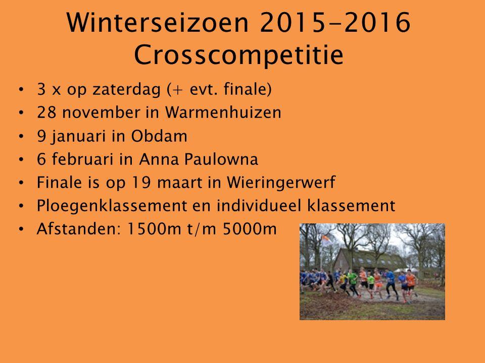 Winterseizoen 2015-2016 Crosscompetitie 3 x op zaterdag (+ evt.