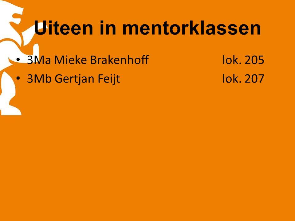 Uiteen in mentorklassen 3Ma Mieke Brakenhofflok. 205 3Mb Gertjan Feijtlok. 207