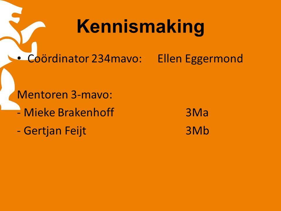 Kennismaking Coördinator 234mavo:Ellen Eggermond Mentoren 3-mavo: - Mieke Brakenhoff3Ma - Gertjan Feijt3Mb