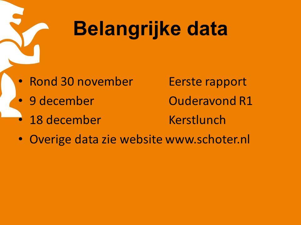 Belangrijke data Rond 30 novemberEerste rapport 9 decemberOuderavond R1 18 decemberKerstlunch Overige data zie website www.schoter.nl
