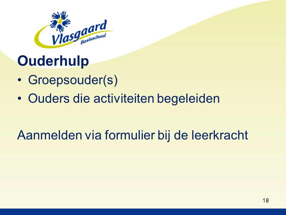 18 Ouderhulp Groepsouder(s) Ouders die activiteiten begeleiden Aanmelden via formulier bij de leerkracht