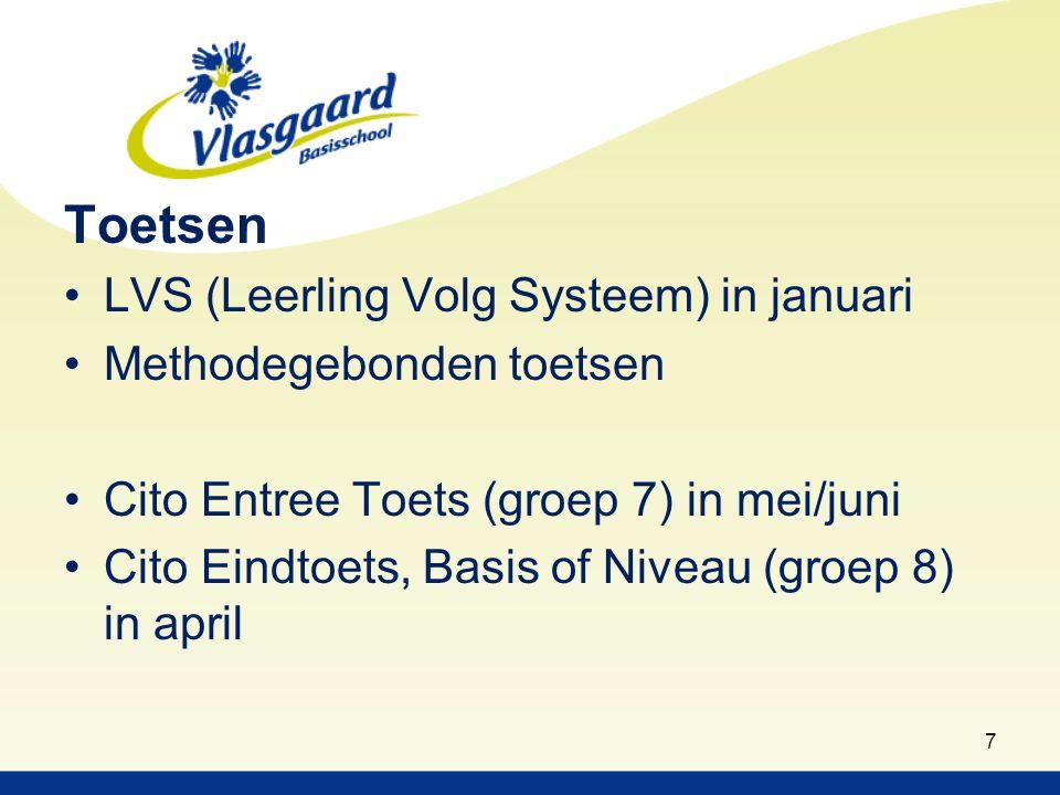 Toetsen LVS (Leerling Volg Systeem) in januari Methodegebonden toetsen Cito Entree Toets (groep 7) in mei/juni Cito Eindtoets, Basis of Niveau (groep 8) in april 7