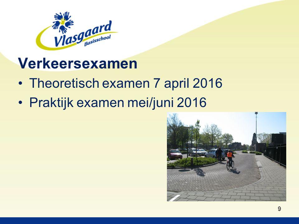 Verkeersexamen Theoretisch examen 7 april 2016 Praktijk examen mei/juni 2016 9
