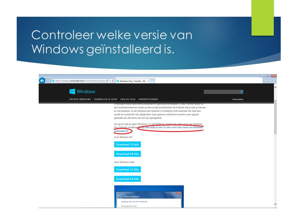 Controleer welke versie van Windows geïnstalleerd is.