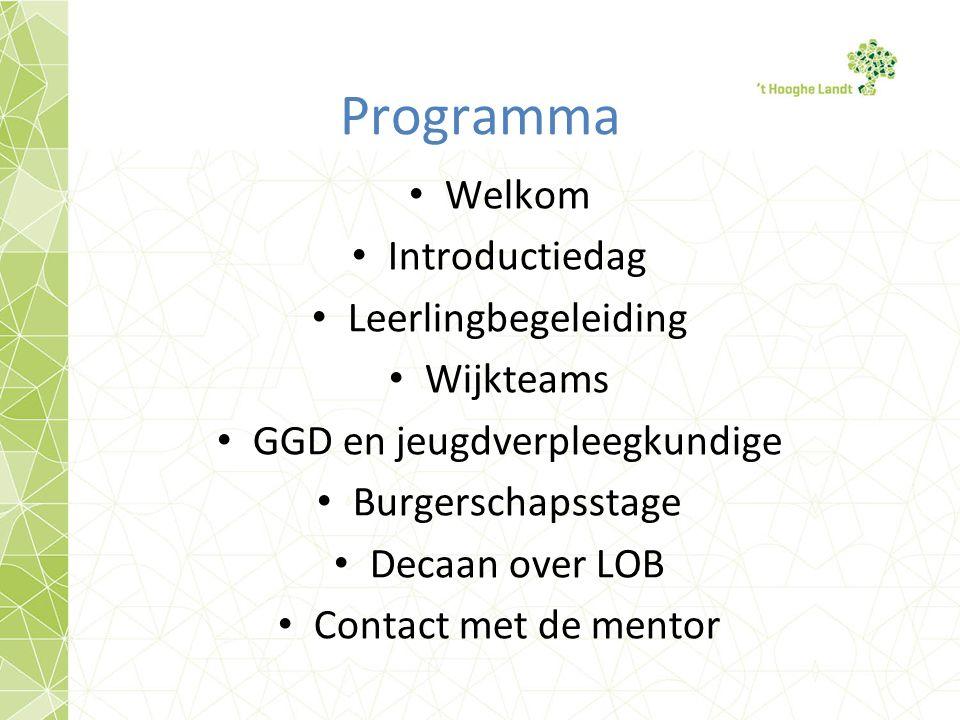 Programma Welkom Introductiedag Leerlingbegeleiding Wijkteams GGD en jeugdverpleegkundige Burgerschapsstage Decaan over LOB Contact met de mentor