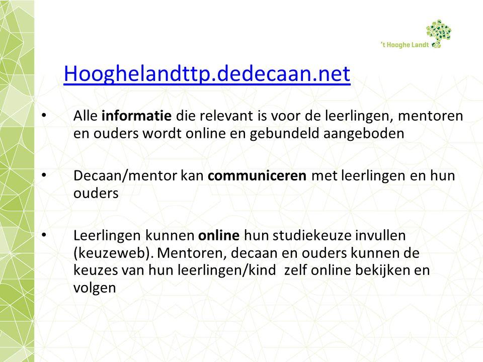Hooghelandttp.dedecaan.net Alle informatie die relevant is voor de leerlingen, mentoren en ouders wordt online en gebundeld aangeboden Decaan/mentor kan communiceren met leerlingen en hun ouders Leerlingen kunnen online hun studiekeuze invullen (keuzeweb).