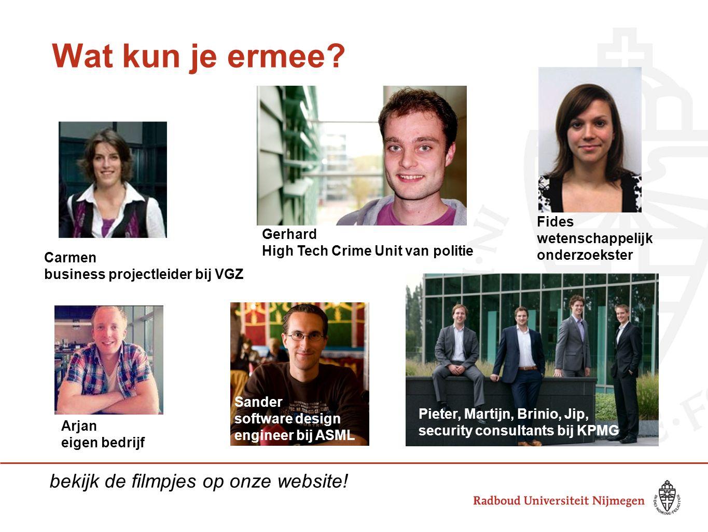 Wat kun je ermee? Arjan eigen bedrijf Gerhard High Tech Crime Unit van politie Pieter, Martijn, Brinio, Jip, security consultants bij KPMG Carmen busi