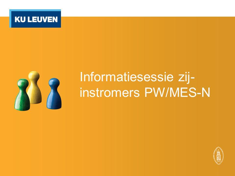 Informatiesessie zij- instromers PW/MES-N