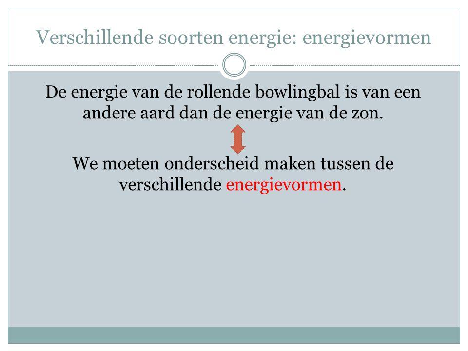 Verschillende soorten energie: energievormen De energie van de rollende bowlingbal is van een andere aard dan de energie van de zon. We moeten ondersc