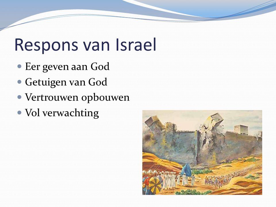 Respons van Israel Eer geven aan God Getuigen van God Vertrouwen opbouwen Vol verwachting