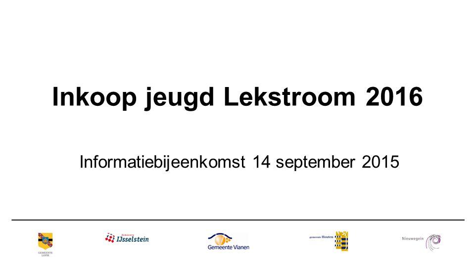Inkoop jeugd Lekstroom 2016 Informatiebijeenkomst 14 september 2015