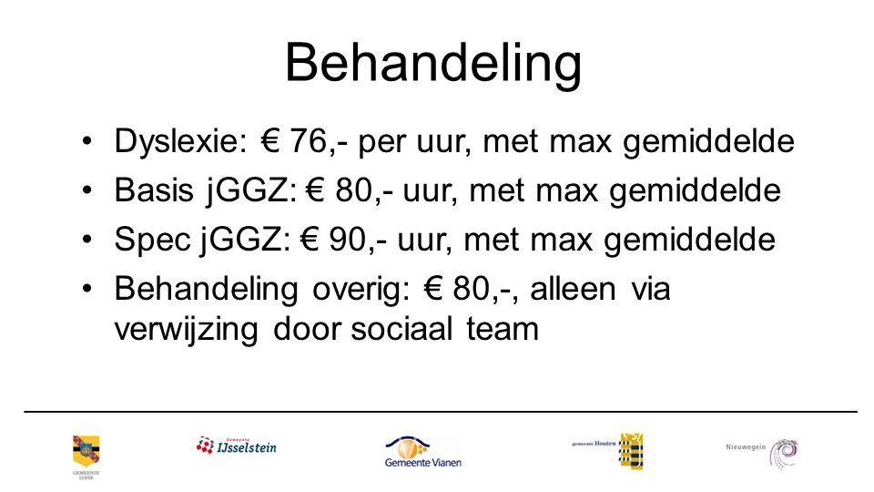 Behandeling Dyslexie: € 76,- per uur, met max gemiddelde Basis jGGZ: € 80,- uur, met max gemiddelde Spec jGGZ: € 90,- uur, met max gemiddelde Behandel
