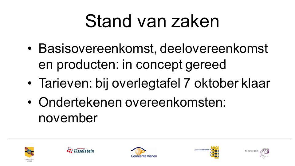 Stand van zaken Basisovereenkomst, deelovereenkomst en producten: in concept gereed Tarieven: bij overlegtafel 7 oktober klaar Ondertekenen overeenkom