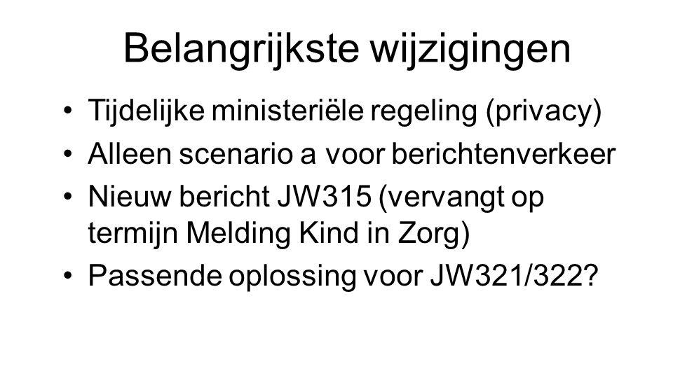 Belangrijkste wijzigingen Tijdelijke ministeriële regeling (privacy) Alleen scenario a voor berichtenverkeer Nieuw bericht JW315 (vervangt op termijn