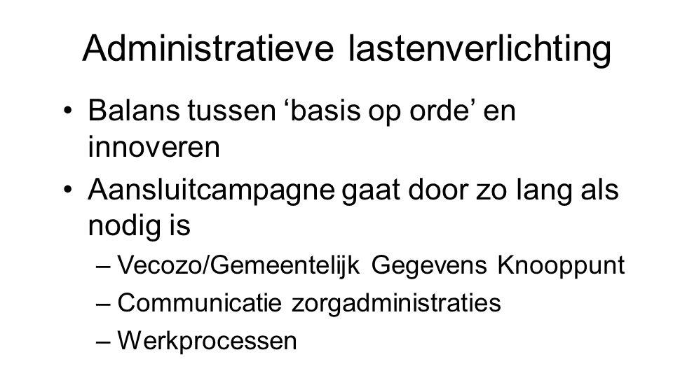 Administratieve lastenverlichting Balans tussen 'basis op orde' en innoveren Aansluitcampagne gaat door zo lang als nodig is –Vecozo/Gemeentelijk Gege