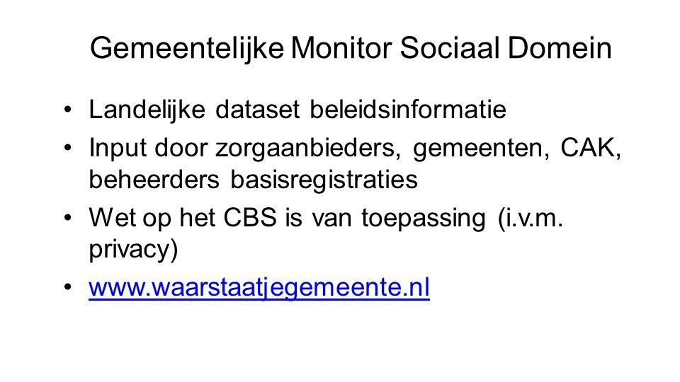Gemeentelijke Monitor Sociaal Domein Landelijke dataset beleidsinformatie Input door zorgaanbieders, gemeenten, CAK, beheerders basisregistraties Wet