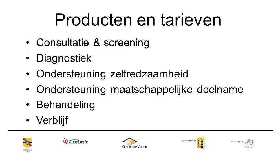 Producten en tarieven Consultatie & screening Diagnostiek Ondersteuning zelfredzaamheid Ondersteuning maatschappelijke deelname Behandeling Verblijf
