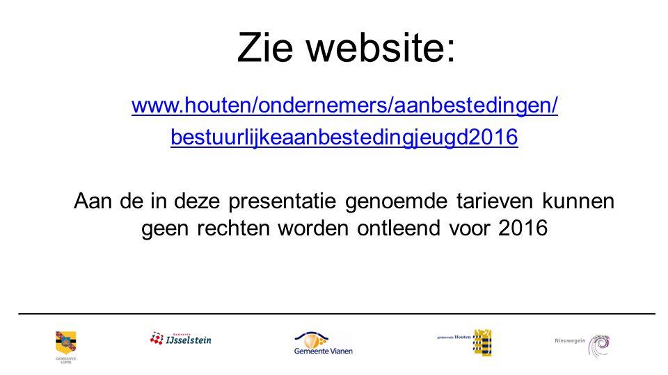 Zie website: www.houten/ondernemers/aanbestedingen/ bestuurlijkeaanbestedingjeugd2016 Aan de in deze presentatie genoemde tarieven kunnen geen rechten