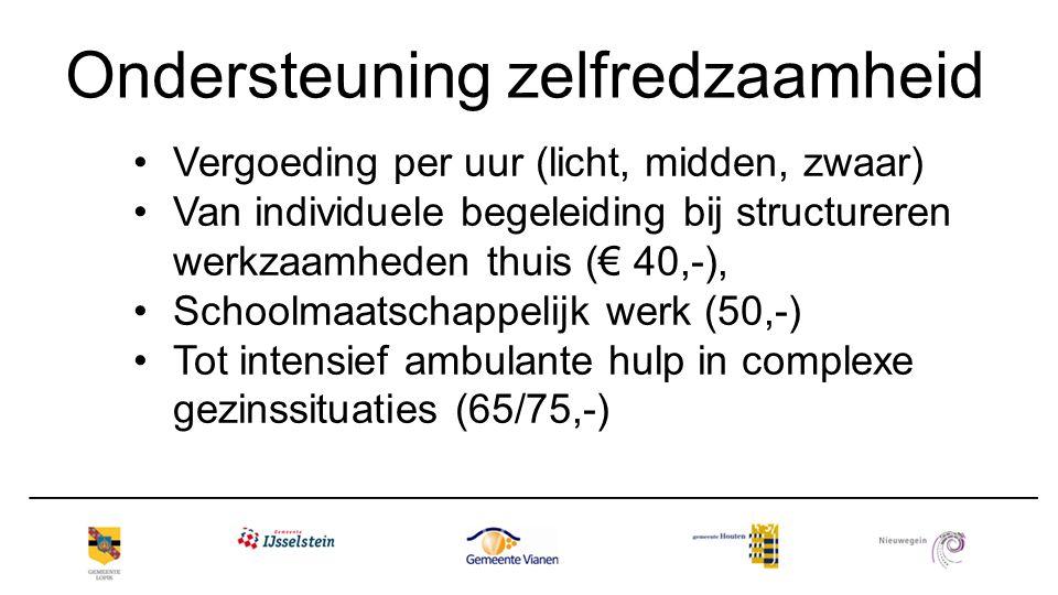 Ondersteuning zelfredzaamheid Vergoeding per uur (licht, midden, zwaar) Van individuele begeleiding bij structureren werkzaamheden thuis (€ 40,-), Sch