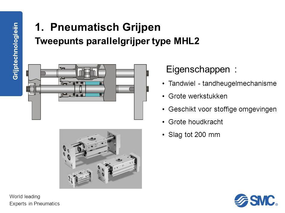 World leading Experts in Pneumatics Tweepunts schaargrijper type MHC2 Eigenschappen : Zuigerprincipe Conische werkstukken Opening van 30° tot 40° standaard Grijptechnologieën 1.