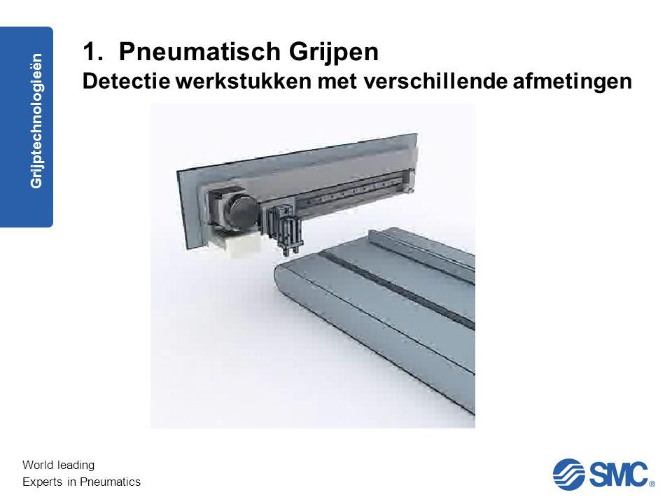World leading Experts in Pneumatics Driepuntsgrijper type MHSL3 met sensor en versterker Onderscheid tussen dikte werkstukken Minimaal verschil = 0,5 mm Bereik afhankelijk van cilinder : 7 mm Grijptechnologieën 1.
