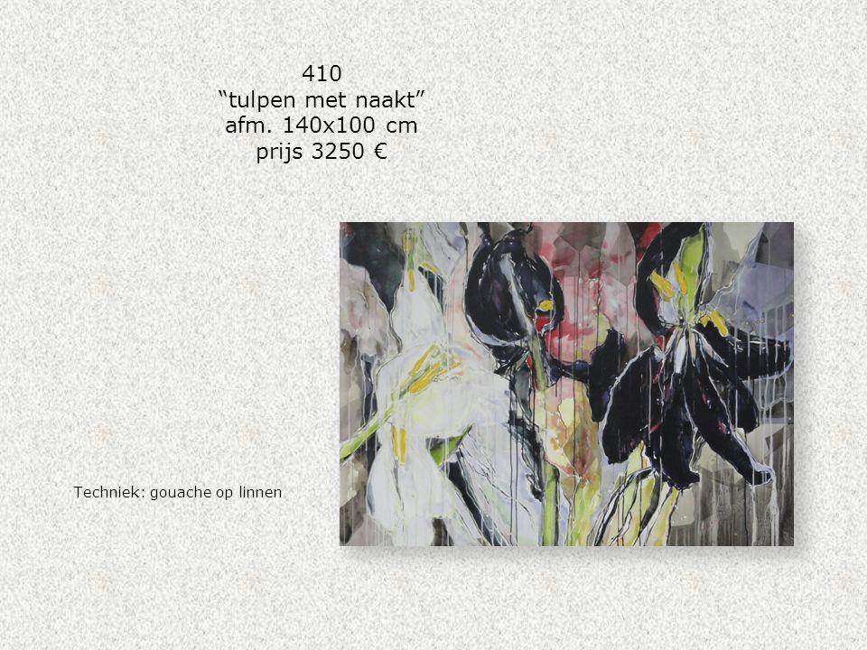 """410 """"tulpen met naakt"""" afm. 140x100 cm prijs 3250 € Techniek: gouache op linnen"""