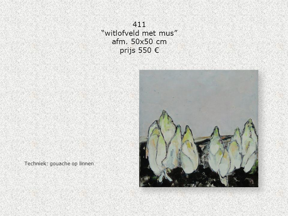 """411 """"witlofveld met mus"""" afm. 50x50 cm prijs 550 € Techniek: gouache op linnen"""