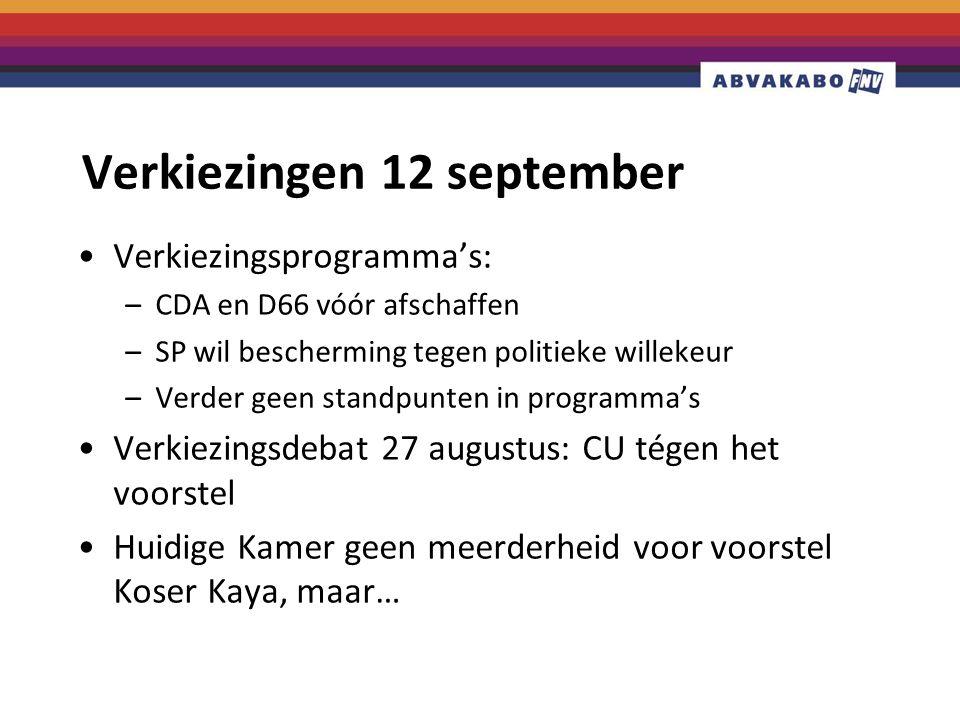 Verkiezingen 12 september Verkiezingsprogramma's: –CDA en D66 vóór afschaffen –SP wil bescherming tegen politieke willekeur –Verder geen standpunten in programma's Verkiezingsdebat 27 augustus: CU tégen het voorstel Huidige Kamer geen meerderheid voor voorstel Koser Kaya, maar…