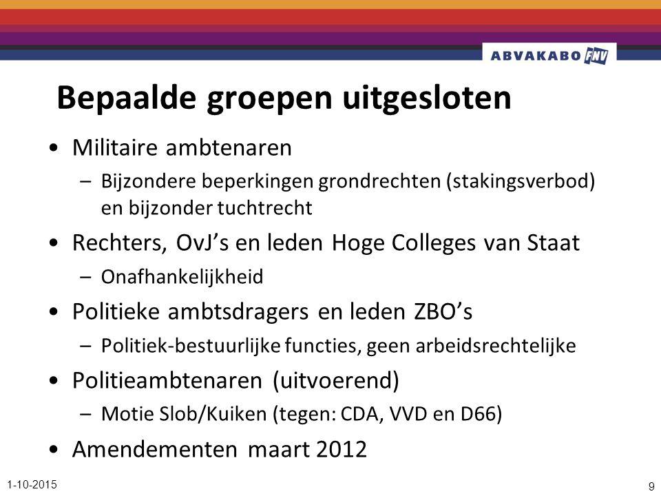 Bepaalde groepen uitgesloten Militaire ambtenaren –Bijzondere beperkingen grondrechten (stakingsverbod) en bijzonder tuchtrecht Rechters, OvJ's en leden Hoge Colleges van Staat –Onafhankelijkheid Politieke ambtsdragers en leden ZBO's –Politiek-bestuurlijke functies, geen arbeidsrechtelijke Politieambtenaren (uitvoerend) –Motie Slob/Kuiken (tegen: CDA, VVD en D66) Amendementen maart 2012 1-10-2015 9